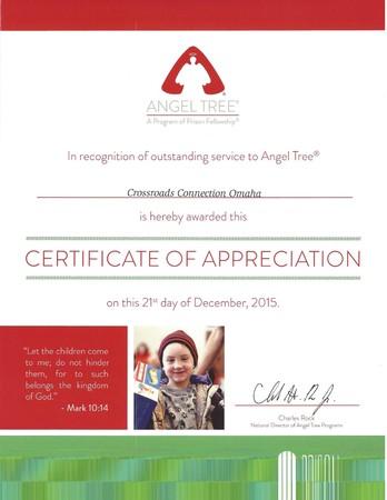 Angel Tree Certificate