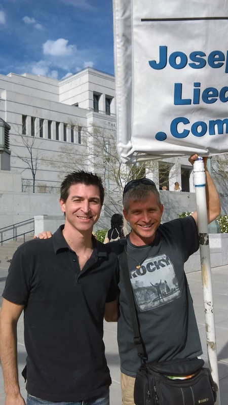 Good friend Mark Molsberry with Rob outside the Relief Society Meeting