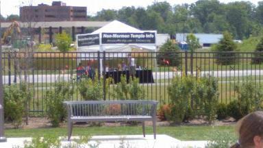 The Tri-Grace Non-Mormon Temple Info booth