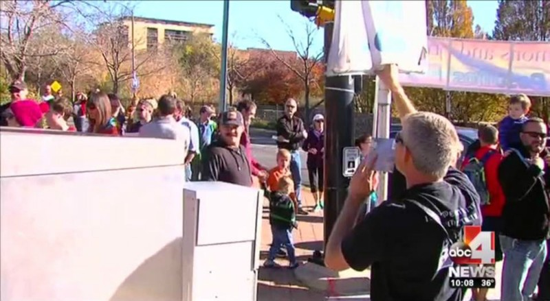 Rob preaching at the mass resignation. Picture from ABC 4 News Utah.