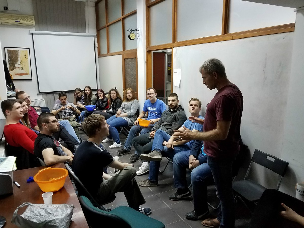 Rob shares at Inter-Varsity, Novi Sad