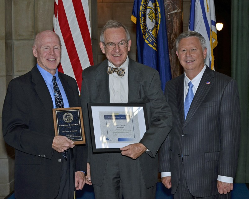 Crossroads President Jim Carroll with Governor Heineman and DOC Director Houston