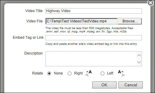 Post a Video Dialog