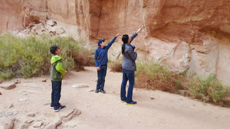 Spotting ancient petrogylphs on the canyon wall