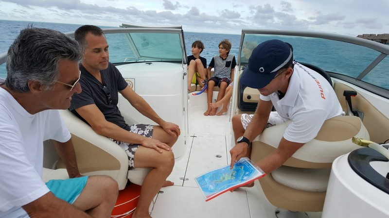Ben from Pure Snorkeling shows us the route we'll take around Bora Bora