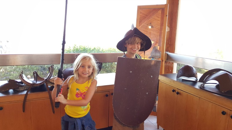 Kids can try on costumes in the Visitor's Center