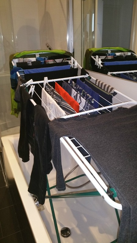 It may not be glamorous - but sometimes you need to do some laundry.  This apartment had a washer and then a rack for drying clothes