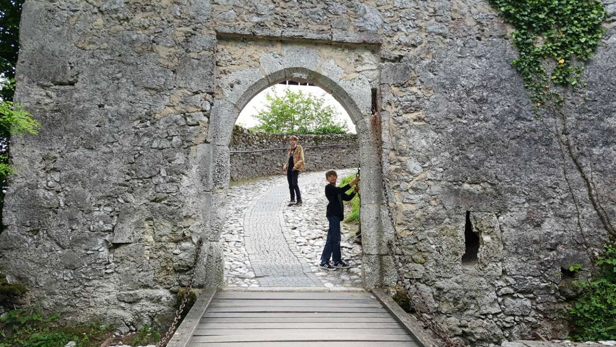 The entrance to Bled Castle