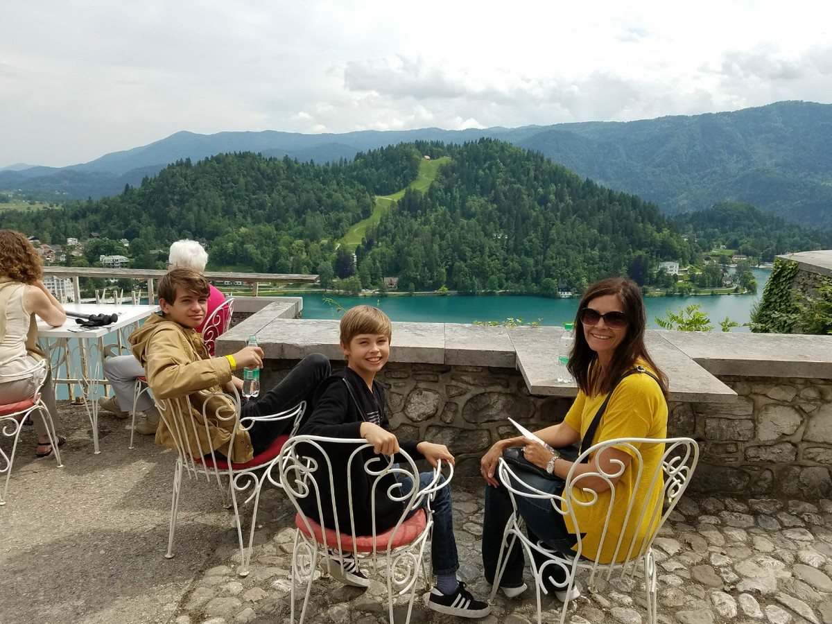 Taking in the view from Bled Castle