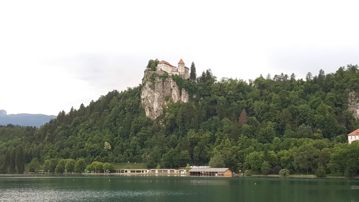 Bled Castle sits high above the lake