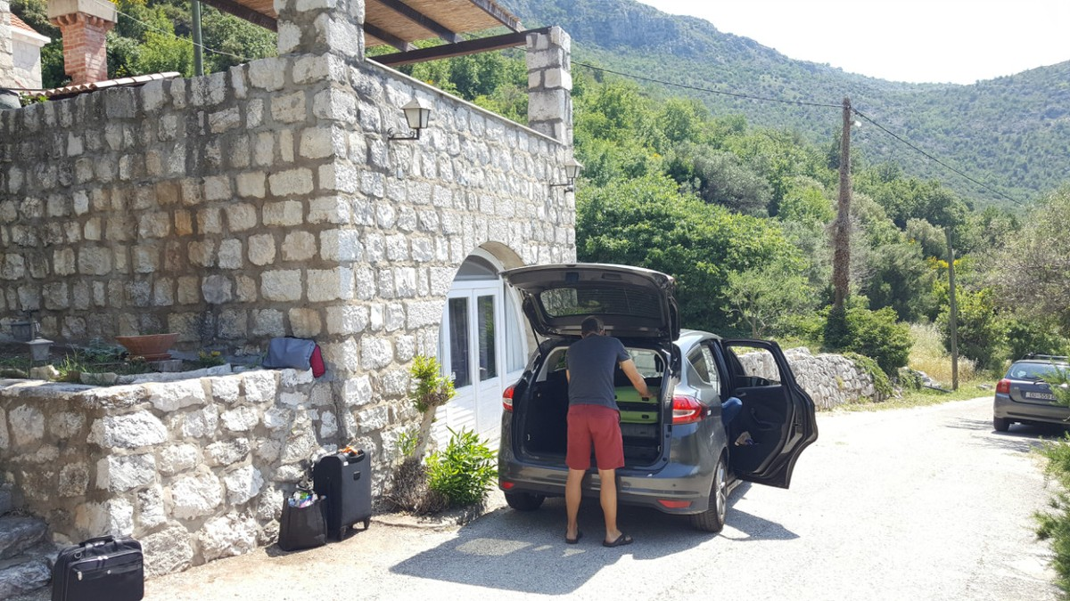 In front of our villa in Croatia - packing up and heading to the next destination.