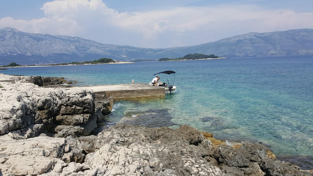 Our first stop, not an island, but a deserted area along Korcula's coast.