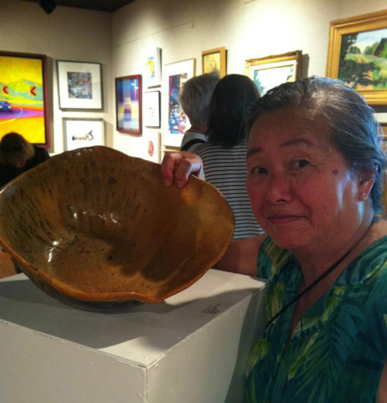 Mavis Jan-Lai and her work, featured at the West Hartford Art :eague, Ct Artists Womens Show.