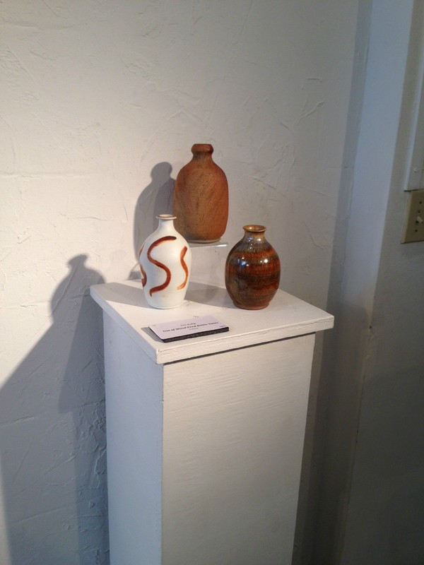 Trio of wood-fired bottles displayed at a juried show at the Art Center Manatee.Trio of wood-fired bottles displayed at a juried show at the Art Center Manatee.