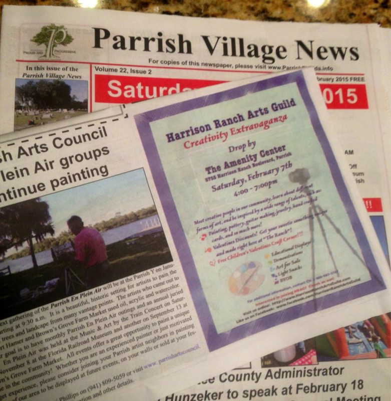Yea! Parrish Village News Rocks! Check out our flyer in the paper, and join us at our first event - the Creativity Extravaganza! This Saturday from 4-7 PM at the Harrison Ranch Amenity Center!