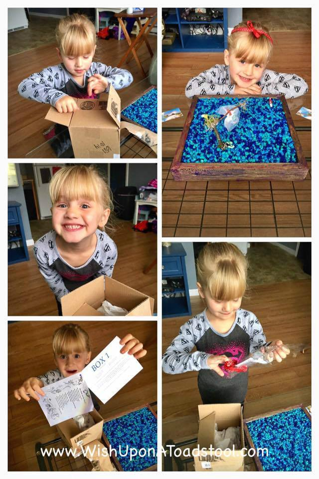 Rylee, receiving Box 1 of our Fairy Mail program