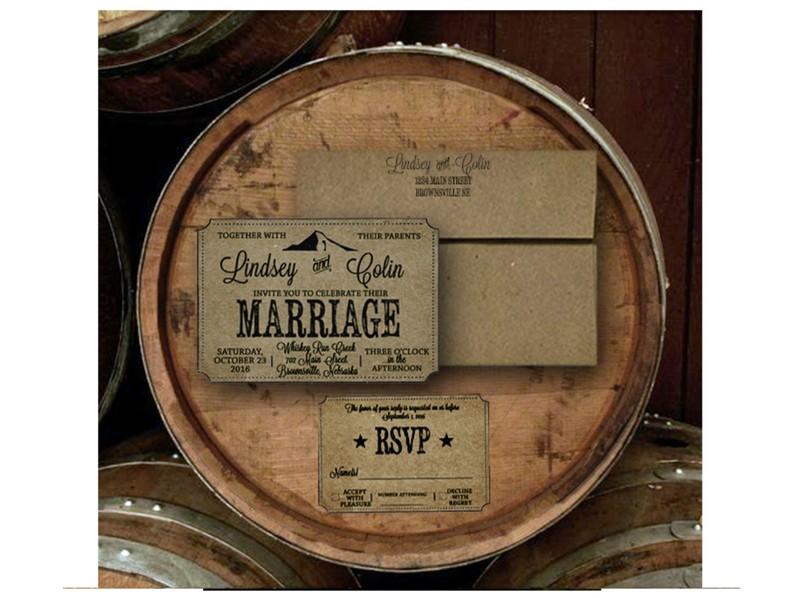 Whiskey Barrell Wedding Invitations