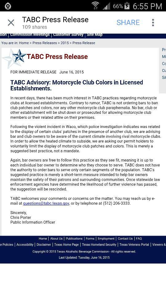 Texas Biker Radio Tbr News Comment Tabc A New Gestapo Smearing