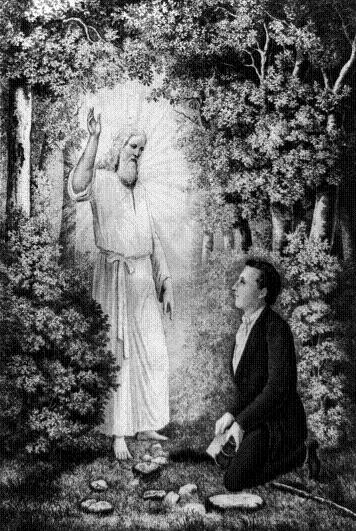 The angel Moroni showing Joseph Smith the gold plates