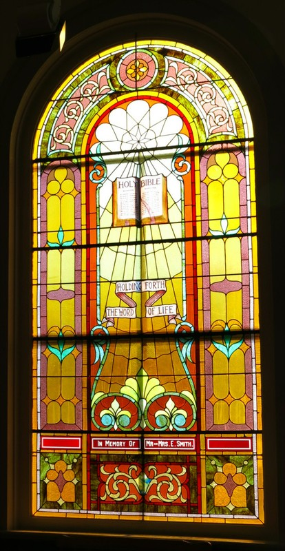 Historic stained-glass window, dates back nearly 100 years.