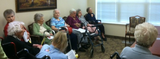 Residents of Maple Lake Assisted Living in Paw Paw gather to view Worship Services provided by ShareNet, Presbyterian Church.