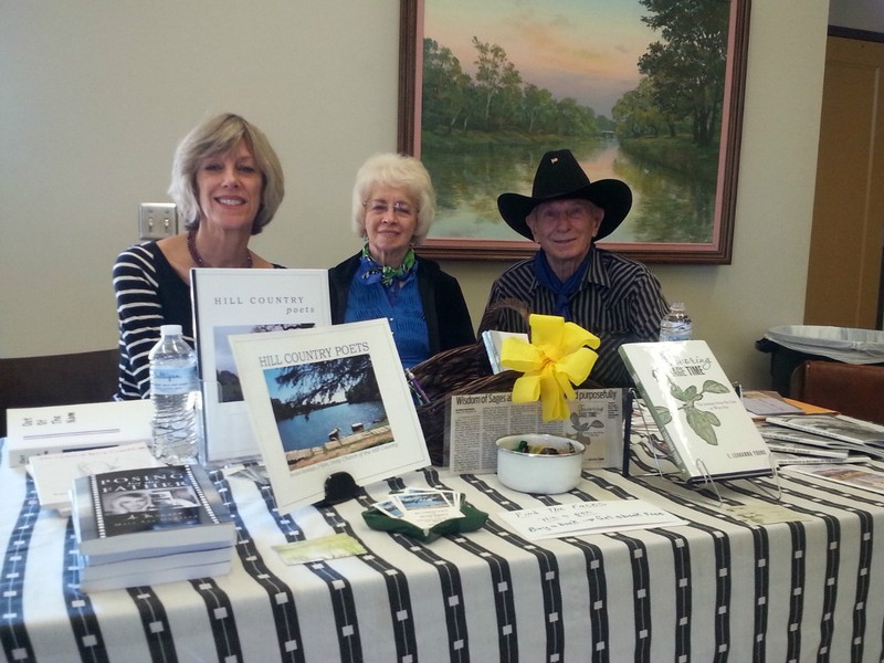 Mary Lee Gowland, I.Leahanna Young and George Fischer, the last DK Cowboy, represented Hill County Poets.