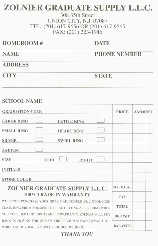 To order a Class Ring - print this form out and fill in the information!