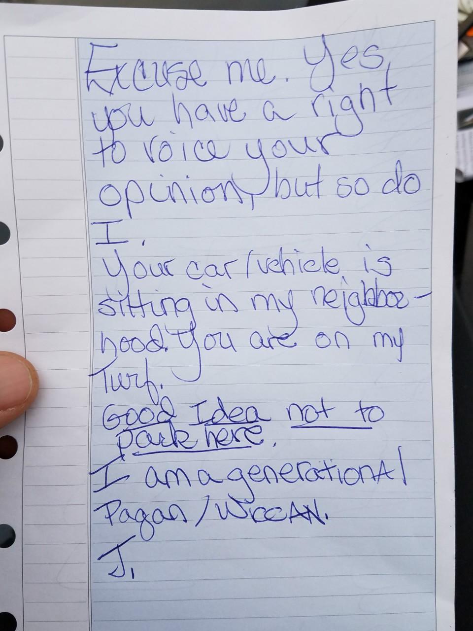 Threatening note