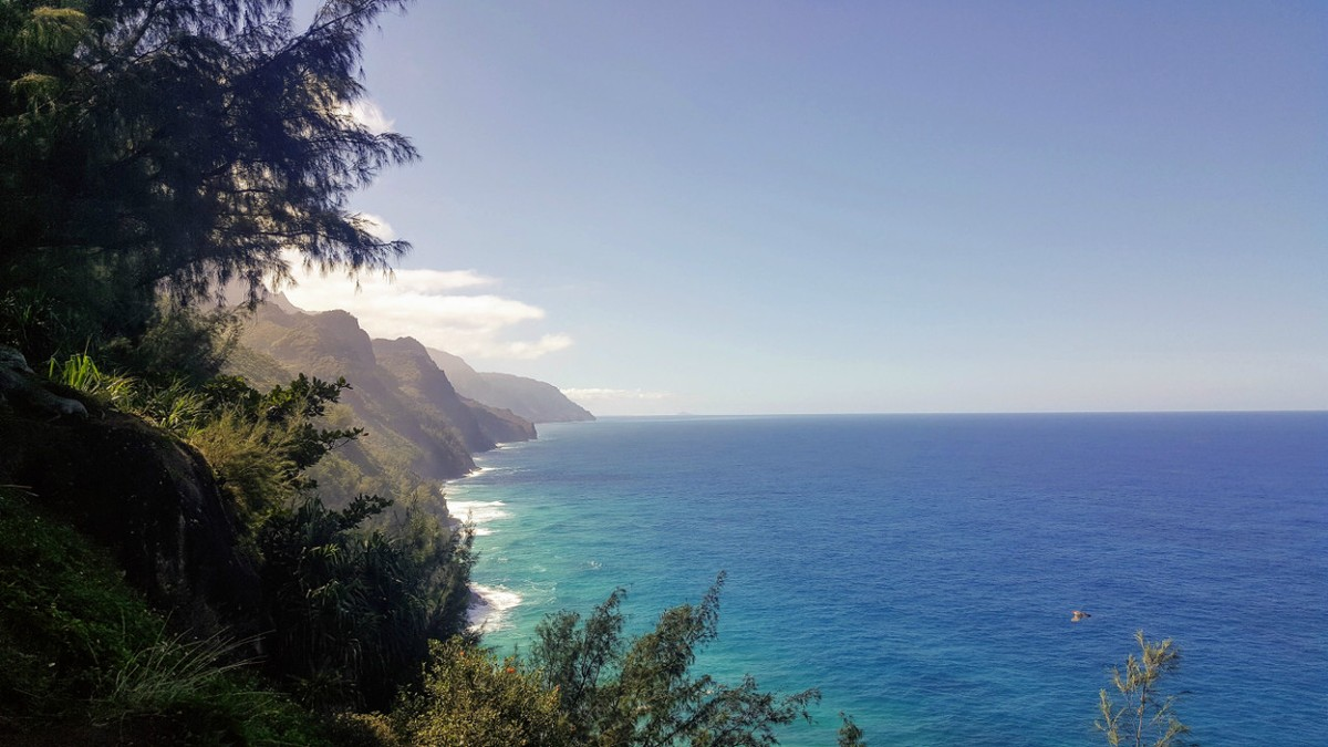 Part of the Napali coast by foot