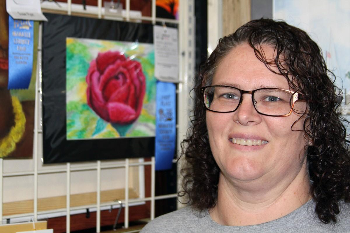 Red Rose in oil pastel - Blue Ribbon Winner - Nancy White