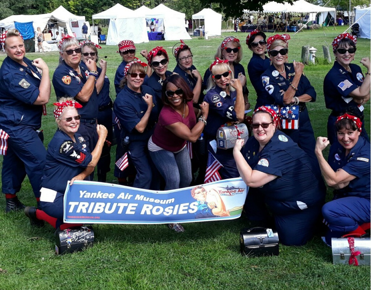 DWE Owner and Dance Instructor, Sherry Hawkins, with members of the Yankee Air Museum Tribute to Rosie the Riveter