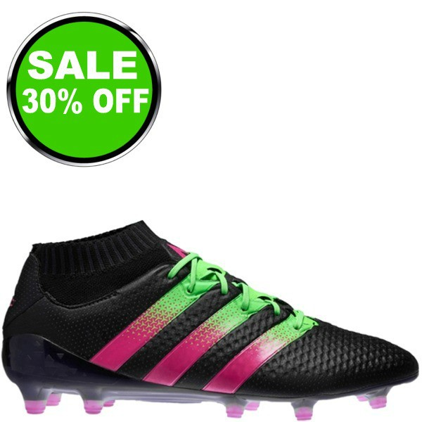 separation shoes 8e06a 559fd adidas ACE 16.1 Primeknit FG AG Black Shock Pink Solar Green Soccer cleats  - model AQ2543