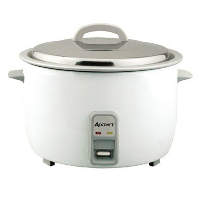 Admiral Craft's 25 cup heavy duty rice cooker. Stainless steel lid, aluminum interior. Easy to read measurements, oversized plastic fork and clear plastic measuring cup. Keep warm feature keeps rice warm for extended periods. 120V, 1550 watts, 13 Amps. Includes stainless steel lid.