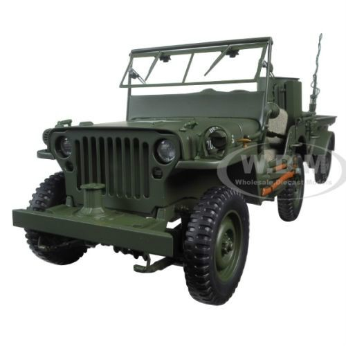 Brand new 1:18 scale diecast car model of Jeep Willys Army Green. Ideal gift.