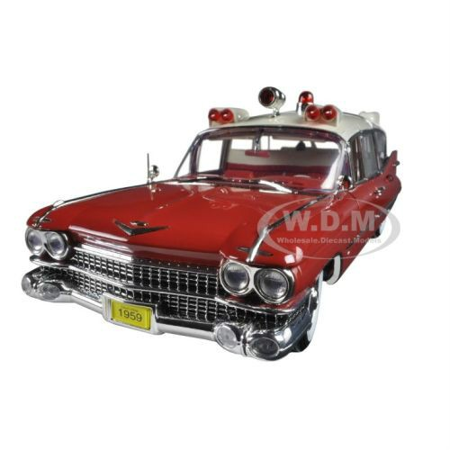 Brand new 1:18 scale diecast car model of 1959 Cadillac Ambulance Red and White