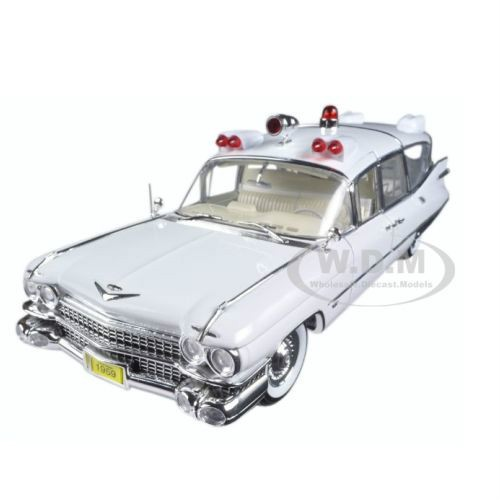 Brand new 1:18 scale diecast car model of 1959 Cadillac Ambulance White