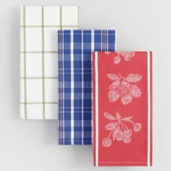 Lots of cotton kitchen towels in a variety of different colors, priced low. Save Save Save.