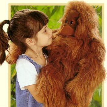 A big beautiful life-like stuffed orangutan