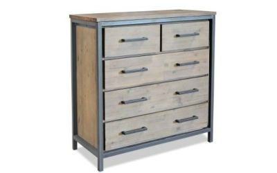 Solid is the best way to describe the Lofton five Drawer Chest. Featuring a solid acacia wood construction.