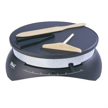 Popular for home use, our best selling gift item comes imported from France. Have fun making crepes at home with the Krampouz 13 inch diameter teflon griddle. Includes ladle, rake, spatula, recipe booklet full of unique French recipes.