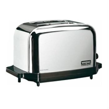 The Waring chrome 2 slice capacity commercial toaster Model WCT702 features chrome-plated steel construction, a pull-out crumb tray, 2 wide slots (full 1-3/8 inch wide), convenient touch controls, and a self-centering bread rack. The model includes extra-high lift control, and an easy-to-use toasting control making it easy to use.