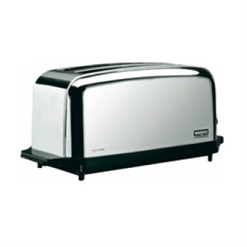 The Waring chrome commercial toaster with 2 slot, 4 slice capacity Model WCT704 features chrome-plated steel construction.