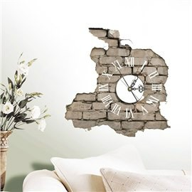Creative Peeled off Brick Wall 3D Sticker Clock
