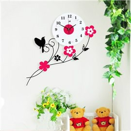 Iron Bird Standing on Flower Branch Design Mute MDF Home Wall Clock
