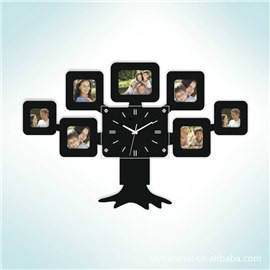 Tree Pattern with Photo Frames Battery Mute MDF Home Wall Clock