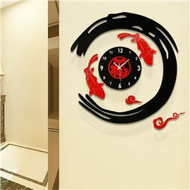 Fishes and Chinese Character Acrylic Eco-friendly and Waterproof Battery Hanging Wall Clock