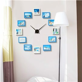Blue and White Photo Frames Creative Style Board Battery Hanging Wall Clock