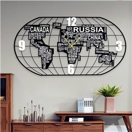Modern World Map Simple MDF Digit Black and White Wall Clock