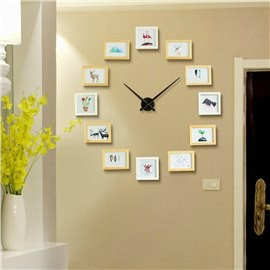 Photo Frames Creative Style Wooden Board Battery Hanging Wall Clock