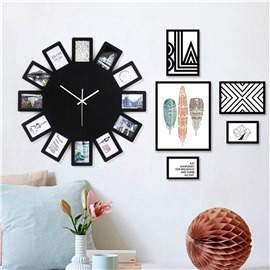 Black Photo Frames Round Dial Wood Battery Hanging Wall Clock